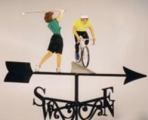 Golf & Cycling, painted